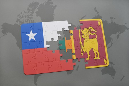 colombo: puzzle with the national flag of chile and sri lanka on a world map background. 3D illustration Stock Photo