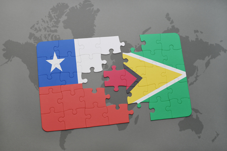 guyanese: puzzle with the national flag of chile and guyana on a world map background. 3D illustration