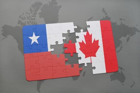 bandera chilena: puzzle con la bandera nacional de Chile y Canadá en un mapa del mundo de fondo. ilustración 3D Foto de archivo