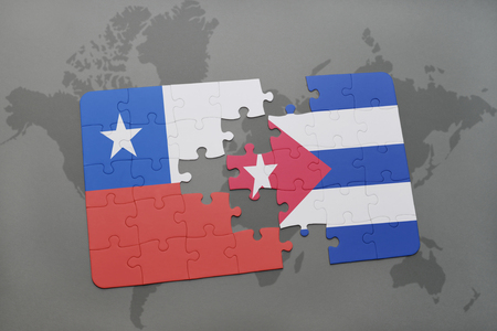 separatism: puzzle with the national flag of chile and cuba on a world map background. 3D illustration Stock Photo