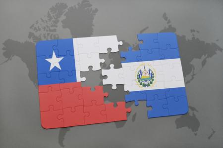 mapa de el salvador: puzzle con la bandera nacional de Chile y El Salvador en un mapa del mundo de fondo. ilustración 3D