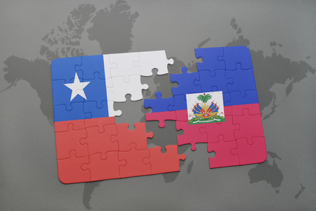 separatism: puzzle with the national flag of chile and haiti on a world map background. 3D illustration