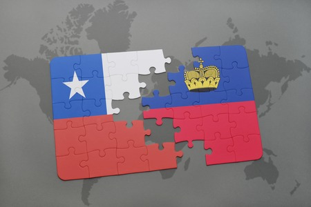 separatism: puzzle with the national flag of chile and liechtenstein on a world map background. 3D illustration Stock Photo