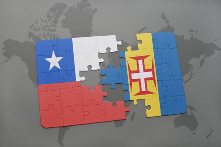 separatism: puzzle with the national flag of chile and madeira on a world map background. 3D illustration