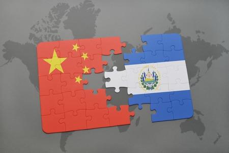 mapa de el salvador: puzzle with the national flag of china and el salvador on a world map background. 3D illustration Foto de archivo
