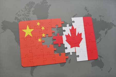north american: puzzle with the national flag of china and canada on a world map background. 3D illustration