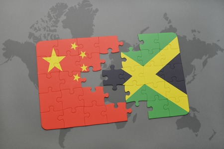 kingston: puzzle with the national flag of china and jamaica on a world map background. 3D illustration