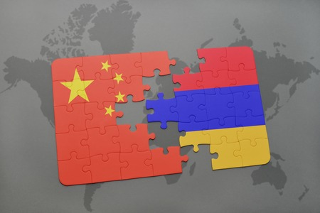 yerevan: puzzle with the national flag of china and armenia on a world map background. 3D illustration