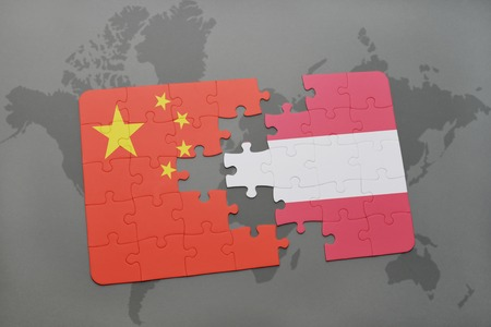 austria: puzzle with the national flag of china and austria on a world map background. 3D illustration