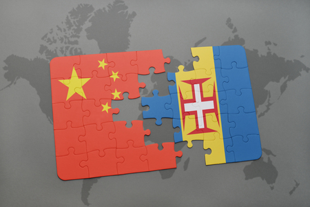 madeira: puzzle with the national flag of china and madeira on a world map background. 3D illustration Stock Photo