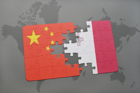 maltese map: puzzle with the national flag of china and malta on a world map background. 3D illustration