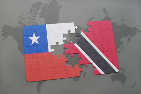national flag trinidad and tobago: puzzle with the national flag of chile and trinidad and tobago on a world map background. 3D illustration