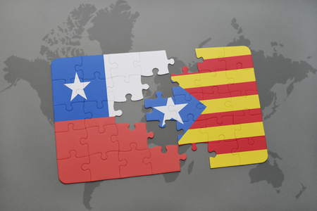 puzzle with the national flag of chile and catalonia on a world map background. 3D illustration Фото со стока