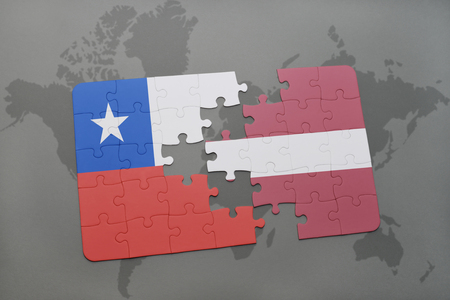 separatism: puzzle with the national flag of chile and latvia on a world map background. 3D illustration