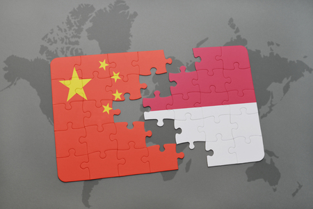 Puzzle with the national flag of china and indonesia on a world illustration puzzle with the national flag of china and indonesia on a world map background 3d illustration gumiabroncs Image collections