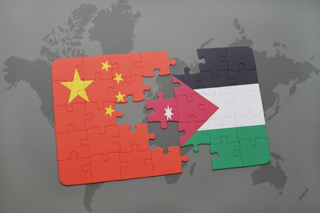 middle east crisis: puzzle with the national flag of china and jordan on a world map background. 3D illustration