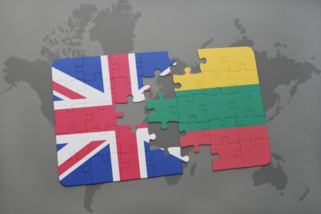 puzzle with the national flag of great britain and lithuania on a world map background