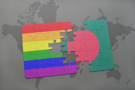 bandera gay: puzzle con la bandera nacional de Bangladesh y la bandera del arco iris gay en un mapa del mundo de fondo. ilustración 3D