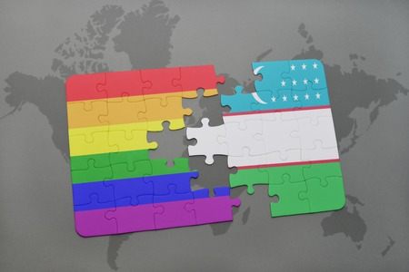 middle east crisis: puzzle with the national flag of uzbekistan and gay rainbow flag on a world map background. 3D illustration