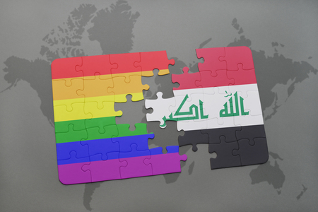middle east peace: puzzle with the national flag of iraq and gay rainbow flag on a world map background. 3D illustration