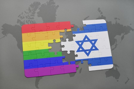 middle east peace: puzzle with the national flag of israel and gay rainbow flag on a world map background. 3D illustration