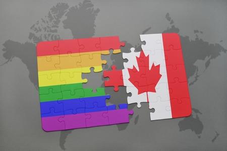 banderas america: puzzle con la bandera nacional de Canadá y bandera del arco iris gay en un mapa del mundo de fondo. ilustración 3D
