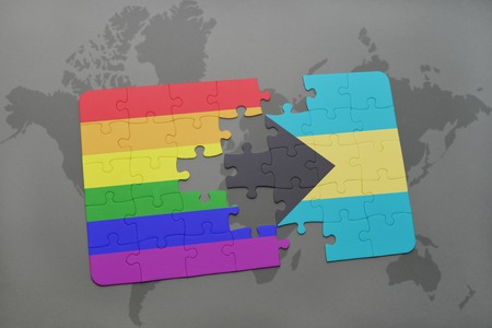 bahamas map: puzzle with the national flag of bahamas and gay rainbow flag on a world map background. 3D illustration