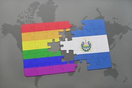 mapa de el salvador: puzzle con la bandera nacional de El Salvador y la bandera del arco iris gay en un mapa del mundo de fondo. ilustración 3D Foto de archivo