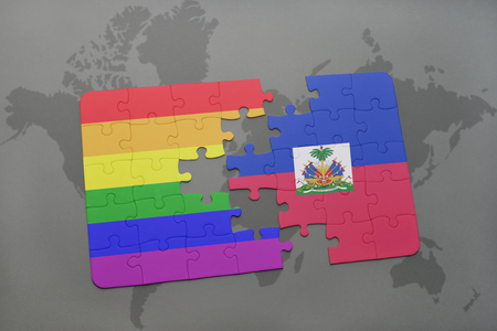 port au prince: puzzle with the national flag of haiti and gay rainbow flag on a world map background. 3D illustration