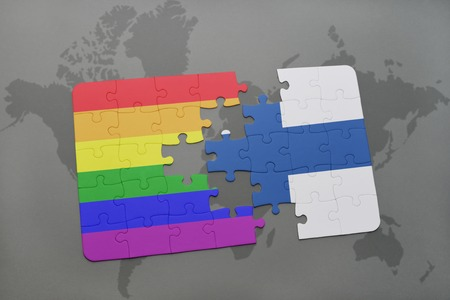 homosexual partners: puzzle with the national flag of finland and gay rainbow flag on a world map background. 3D illustration