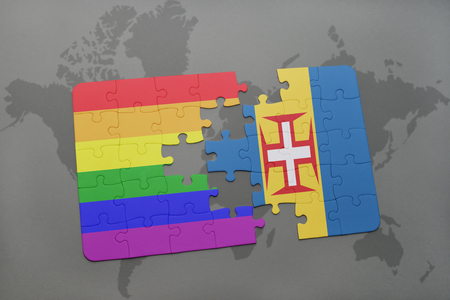 madeira: puzzle with the national flag of madeira and gay rainbow flag on a world map background. 3D illustration