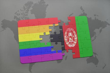 bandera gay: puzzle con la bandera nacional de Afganistán y bandera del arco iris gay en un mapa del mundo de fondo. ilustración 3D