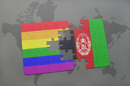 afghanistan flag: puzzle with the national flag of afghanistan and gay rainbow flag on a world map background. 3D illustration Stock Photo