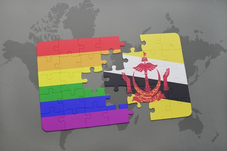 map of brunei: puzzle with the national flag of brunei and gay rainbow flag on a world map background. 3D illustration