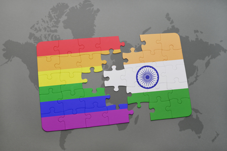 middle east peace: puzzle with the national flag of india and gay rainbow flag on a world map background. 3D illustration Stock Photo