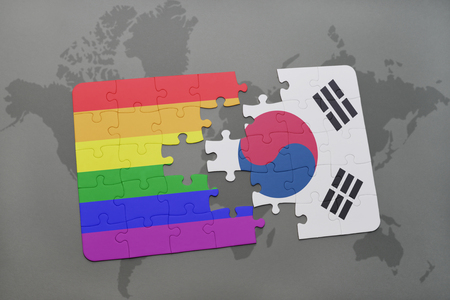 middle east peace: puzzle with the national flag of south korea and gay rainbow flag on a world map background. 3D illustration