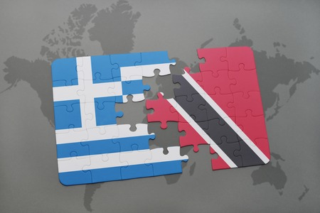 national flag trinidad and tobago: puzzle with the national flag of greece and trinidad and tobago on a world map background. 3D illustration Stock Photo