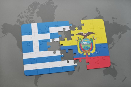 separatism: puzzle with the national flag of greece and ecuador on a world map background. 3D illustration Stock Photo