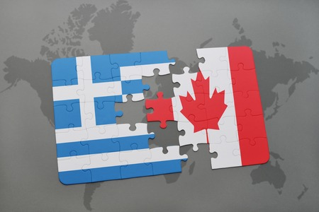 north american: puzzle with the national flag of greece and canada on a world map background. 3D illustration