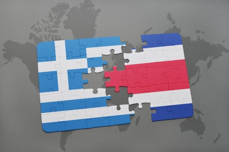 separatism: puzzle with the national flag of greece and costa rica on a world map background. 3D illustration