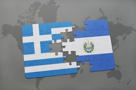 mapa de el salvador: puzzle con la bandera nacional de Grecia y El Salvador en un mapa del mundo de fondo. ilustración 3D
