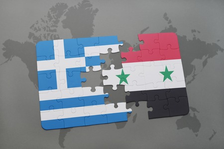 Puzzle with the national flag of greece and mongolia on a world puzzle with the national flag of greece and syria on a world map background 3d gumiabroncs Images