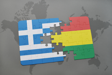 mapa de bolivia: puzzle with the national flag of greece and bolivia on a world map background. 3D illustration