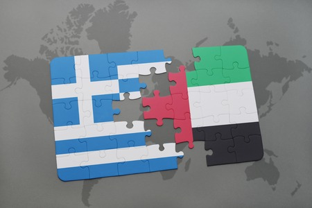 separatism: puzzle with the national flag of greece and united arab emirates on a world map background. 3D illustration