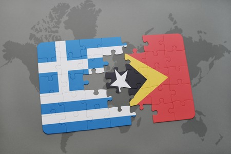 separatism: puzzle with the national flag of greece and east timor on a world map background. 3D illustration
