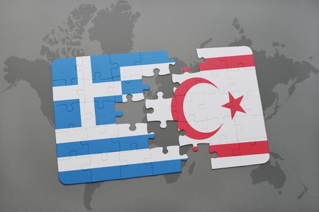 middle east crisis: puzzle with the national flag of greece and northern cyprus on a world map background. 3D illustration