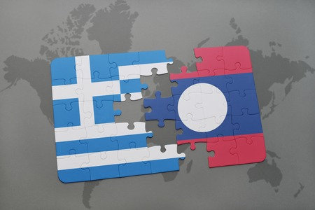 middle east crisis: puzzle with the national flag of greece and laos on a world map background. 3D illustration Stock Photo