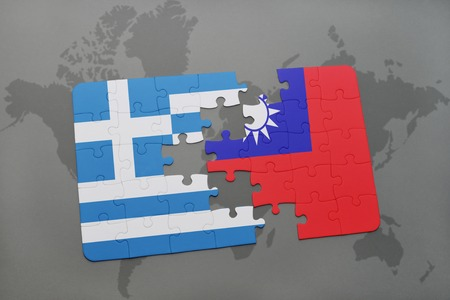separatism: puzzle with the national flag of greece and taiwan on a world map background. 3D illustration Stock Photo