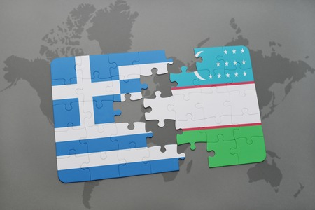 middle east crisis: puzzle with the national flag of greece and uzbekistan on a world map background. 3D illustration Stock Photo