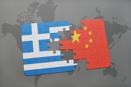 separatism: puzzle with the national flag of greece and china on a world map background. 3D illustration Stock Photo